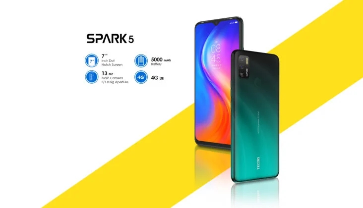 Tecno Spark 5 Air with a 7″ Waterdrop Panel, Android 10 & 5000mAh cell Unveiled
